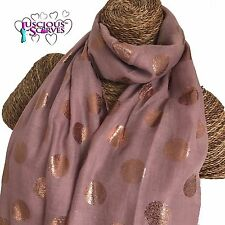PINK SCARF WITH ROSE GOLD FOIL SPARKLE DOTS SPOTS LADIES SUPERB SOFT QUALITY