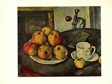 """1963 Vintage CEZANNE """"STILL LIFE WITH APPLES"""" COLOR offset Art Print Lithograph"""