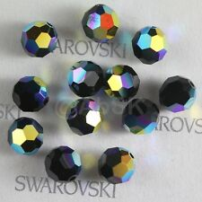 100 pieces Swarovski 5000 faceted 4mm Round Ball Beads Crystal Jet AB *SALE*