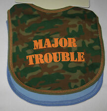 Baby BIBS Set of 2 Camo Major Trouble Will Work for Cookies Boys New Blue
