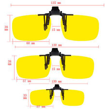 Anti Glare 100% UV400 Night Vision Yellow Lenses Flip Up Clip On Driving Glasses