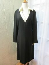 "Donna Morgan Ivory Collared V-Neck Black Long sleeve Dress Women 6 ""NWT"""