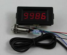 DC 12V 4 Digital Red LED Counter Meter Up Down+Hall Proximity Switch Sensor NPN
