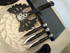 Black Legion Skull Punisher Quadruple Throwing Knife/Knives Battle Axe 4 Pc Set