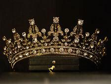 VINTAGE DESIGN ORNATE GOLD ROYAL QUEEN PRINCESS CRYSTAL CROWN TIARA BRIDAL
