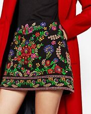ZARA SIZE S BLACK EMBROIDERED MINI SKIRT FLORAL PATTERND ROCK BLUMEN STICKEREI