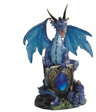 5.25 Inch Blue Dragon Holding Shield on Rock Figurine Figure Statue Fantasy