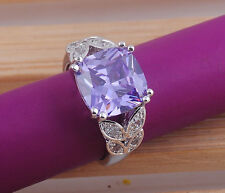 Fashion round cut tanzanite gemstones 925 sterling silver ring size7 M340