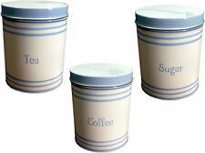 Cornish Coast Blue & White Tea Coffee Sugar Storage Caddy Canister Tin Set New