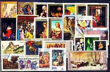 Paintings on Stamps-25 Different Large World Wide Thematic used Stamps