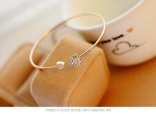 Hot Women Fashion Style Gold Rhinestone Love Heart Bangle Cuff Bracelet Jewelry