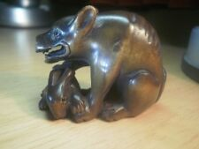 Hand carved wood netsuke Wolf catches rabbit, antique style collectable figure