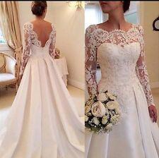 UK Plus SIze White/ivory Long Sleeve Wedding Dress Bridal Gown  Size 6-26