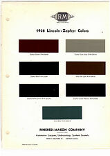 1938 LINCOLN ZEPHYR 38 MINT PAINT CHIPS RINSHED MASON R M