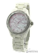 Fossil Riley Women Horn Acetate Multifunction Crystals Watch 40mm ES4015 $115
