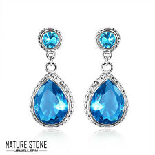 European Style Vintage Teardrop Shaped London Blue Topaz Gems Silver Earrings