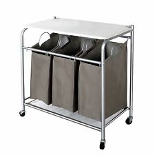 StorageManiac 3 Lift-off Bags Laundry Sorter Cart with Foldable Ironing Board