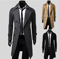 WINTER Men's Peacoat Long Trench Coat Double Breasted Jacket Casual Wool Outwear