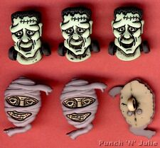 SCARY FACES - Frankenstein Monster Mummy Halloween Dress It Up Craft Buttons