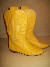 Vintage~Yellow~Leather Boots~Western~Short~6.5 M~Clinch~Corsina~Cowboy~