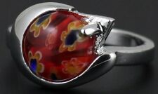 NWOT Costume jewellery ring pretty red glass stone flower design U.K. Size P