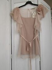 LADIES OASIS NUDE STRAPPY TOP WITH NET DECORATION BLOUSE TUNIC BNWT