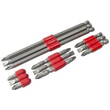 12PC ASSORTED POWER BIT SET DRILL SCREW BITS SLOTTED PHILLIPS POZI 25 50 65 150M