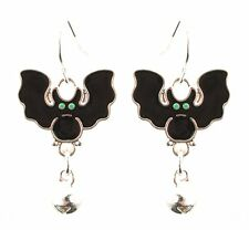 Zest Bat Halloween Earrings with Bell for Pierced Ears Black & Silver