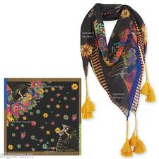 "Laurel Burch CARLOTTA'S CATS 35"" Square Neck Scarf with Tassels Wrap NEW 2016"