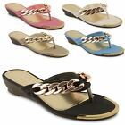 Womens Ladies Summer Sandals Wedge Flip Flops Toe Post Beach Casual Shoes Size