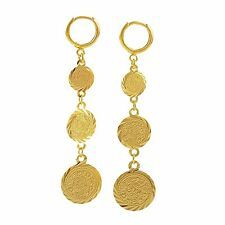 Womens Round 14K Yellow Gold Filled Clip On 3-Coin Long Drop Dangle Earrings Lot
