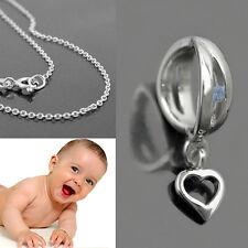 Jungen Zirkonia Infinity Taufring blau Herz Anhänger und Kette 38 cm Silber 925