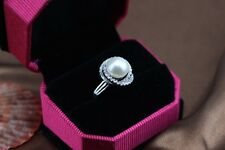 "MP"" Natural Fine 11-12MM  AAA+ white Oblate Shape pearl Ring"