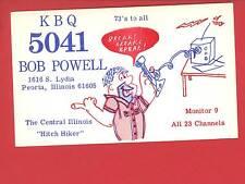 PEORIA IL CB RADIO KBQ 5041 POWELL FRED FLINTSTONE GIBSON MEADVILLE QSL POSTCARD