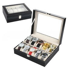 PU Leather 10 Slots Wrist Watch Display Box Storage Holder Organizer Case