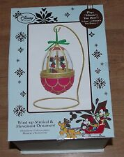 Disney Store Mickey and Minnie Mouse Globe Christmas Decoration musical ornament
