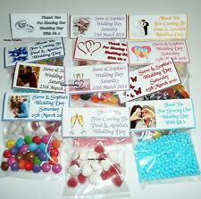 80 Personalised Wedding Day Sweet Bag Wrappers  Favours, Posted 1st Class