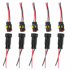5 Kit 2 Pin 2P Way Waterproof Electrical Car Motorcycle Connector Plug w/ Wire