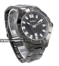 mens big Elgin black steel business dress watch date bracelet Elgin box warranty