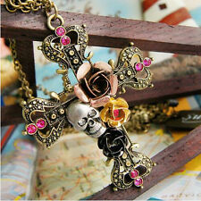New Punk Crystal Chain Flowers Skull Cross Pendant Necklace Gift Party
