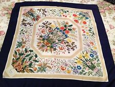 GUCCI Authentic FLORAL Rare SILK SCARF BY VITTORIO ACCORNERO NAVY BLUE BORDER