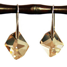 Champagne Gold Diamond Crystal 6680 Sterling 925 Silver Dangling Earrings
