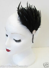 Black & Silver Feather Fascinator Headband Headpiece Vintage Flapper 1920s M96
