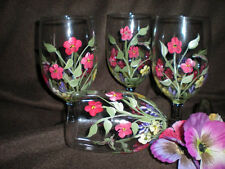 HAND PAINTED WILDFLOWER/HUMMINGBIRD ICE TEAS / SET OF 4(MADE IN THE USA)