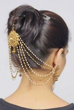 HP- 40 Bollywood Head Piece Pearl Hair Bun Pin Indian Bridal Juda Jewelry