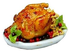 Dollhouse Miniature Roasted Turkey W/ Stuffing On Platter by Bright deLights
