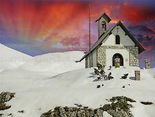 PHOTO LANDSCAPE DOLOMITE MOUNTAINS ITALY CHURCH SUNSET SNOW POSTER BMP10074