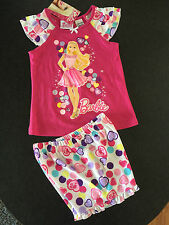 BNWT Girls Sz 5 Cute Pink/Hearts Barbie Short Summer Style Stretch PJ Pyjamas