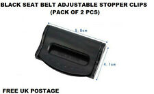 BLACK FIAT SEAT ADJUSTABLE SAFETY BELT STOPPER CLIP CAR TRAVEL 2PCS