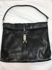 GUCCI BLACK LEATHER SHOULDER HAND BAG